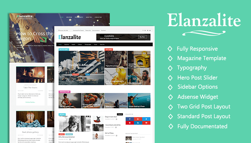 Elanzalite Free Blog Theme - Themehunk WordPress Responsive Theme