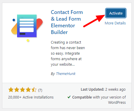 activate lead form builder step 2