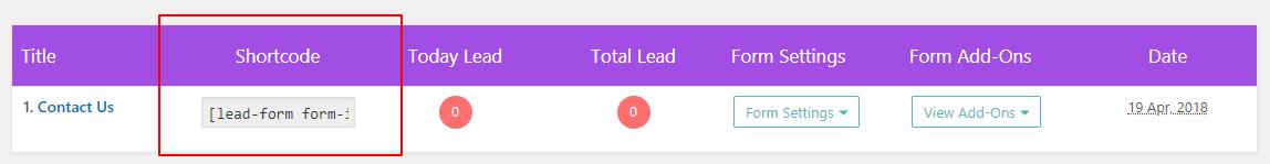 shortcode lead form builder doc