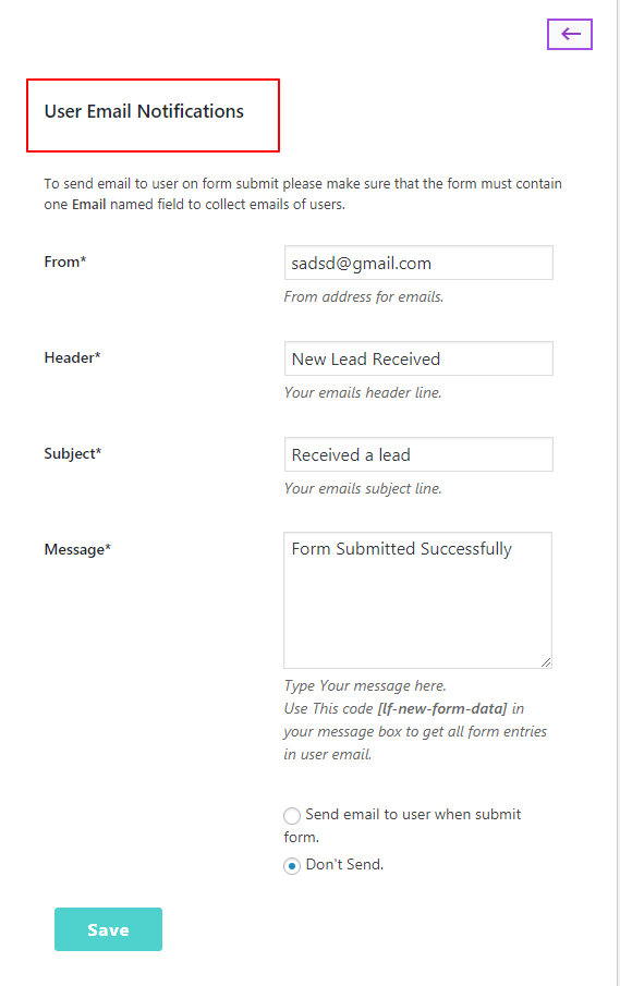 user email lead form builder