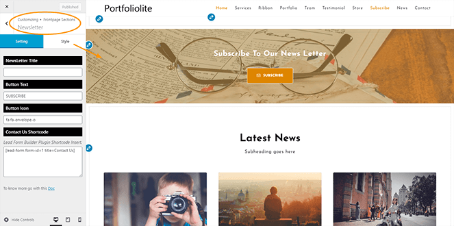 Newsletter-section-Portfoliolite