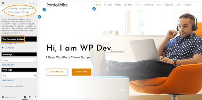 homepage-setting-portfoliolite