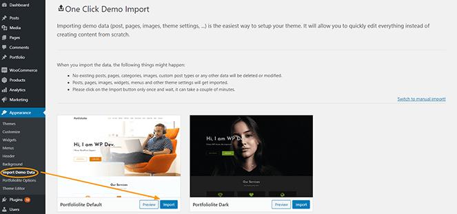 one-click-demo-import-portfoliolite