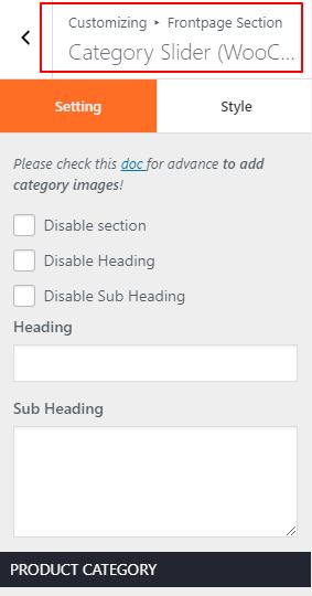category slider shopline