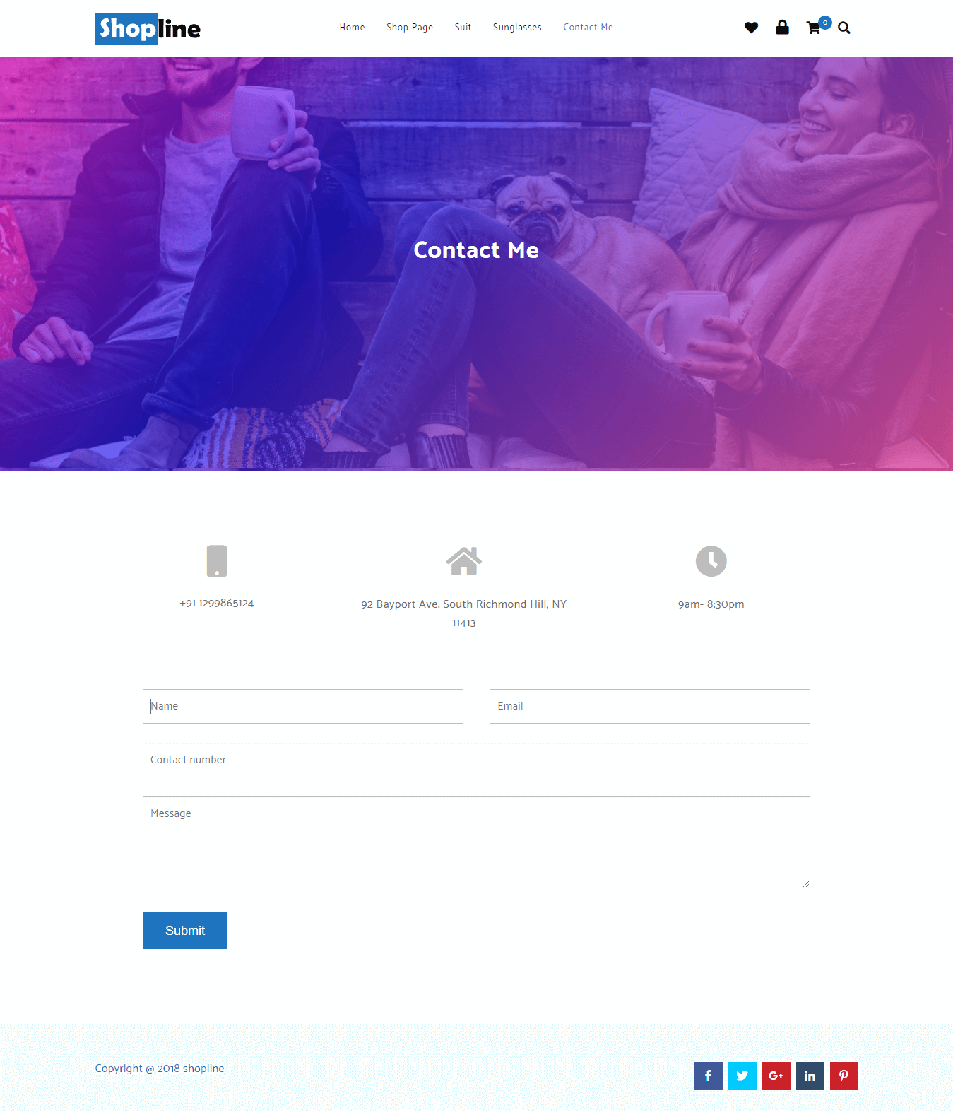 Contact page (Gradient slider)