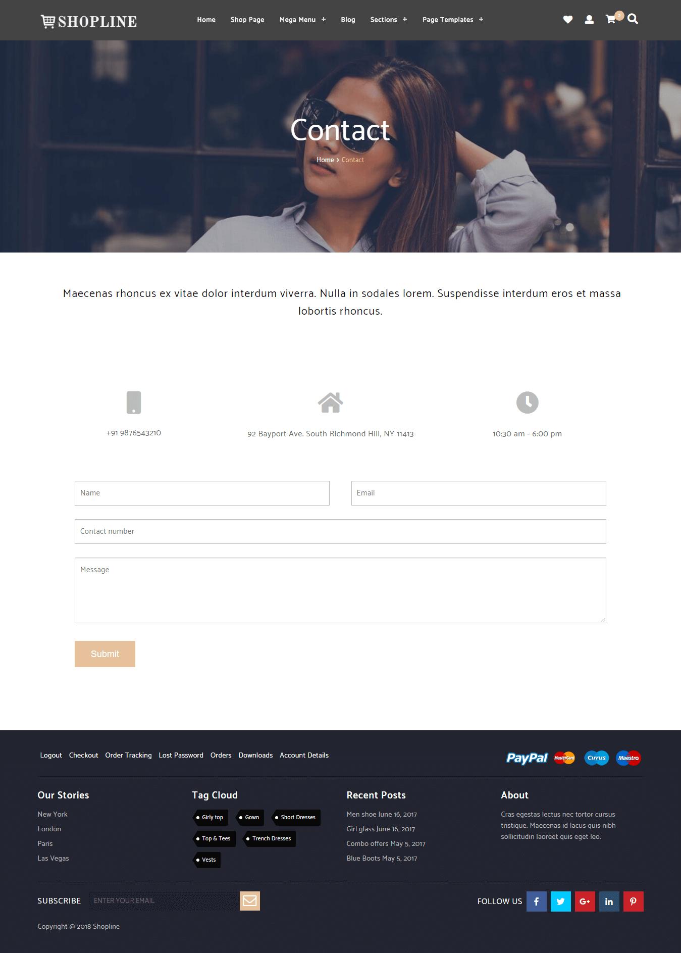 Shopline Pro Contact Layout