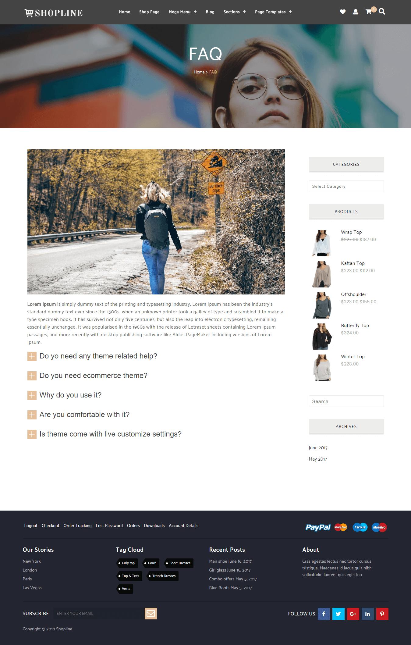 Shopline Pro FAQ Layout