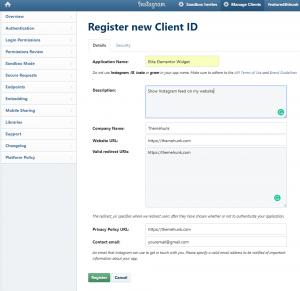 Instagram Developers Registration