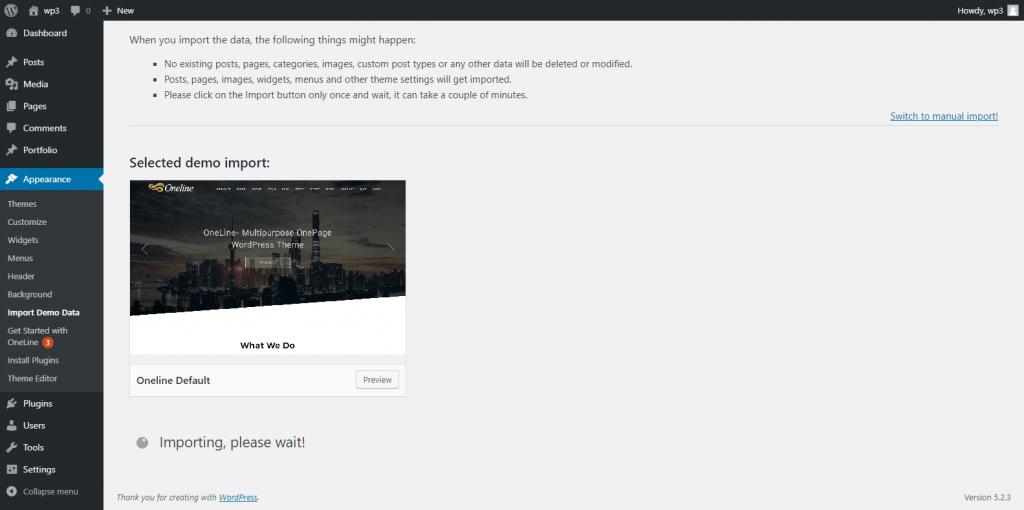 One Click Premium Demo Import
