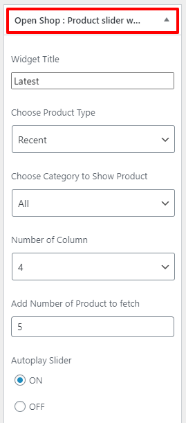 product slider widget openshop rpo