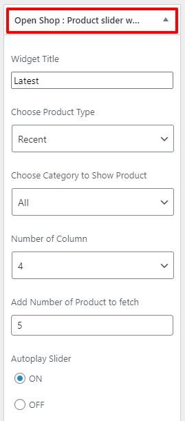 product slider widget openshop rpo