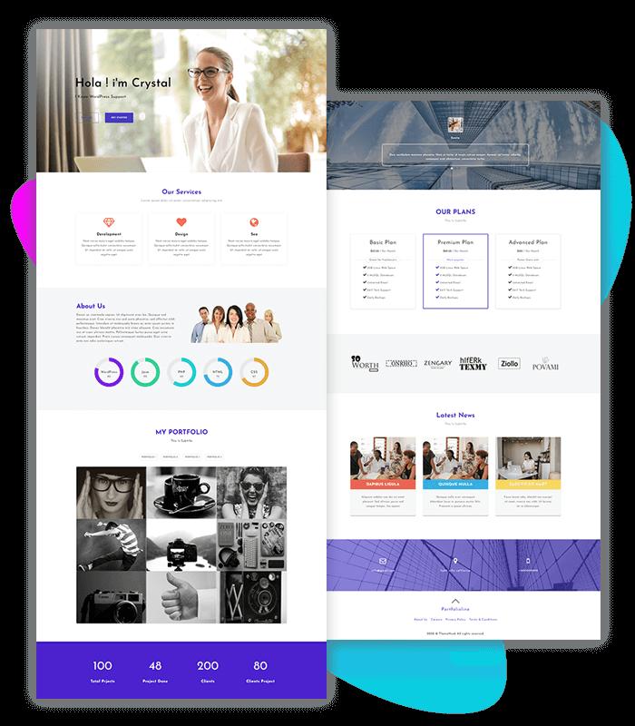 template-demo-page-one-click-portfolioline
