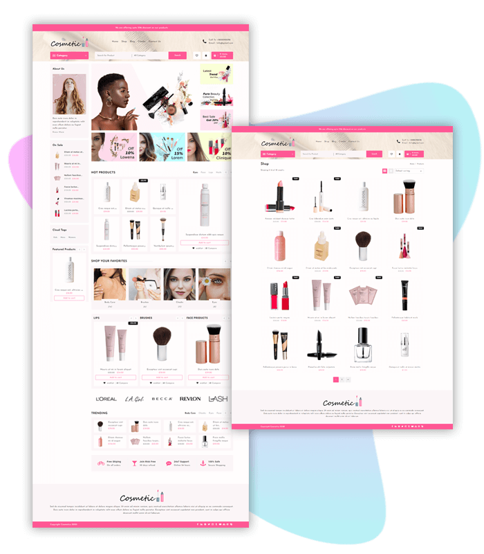 Cosmetic-template-demo-page-one-click