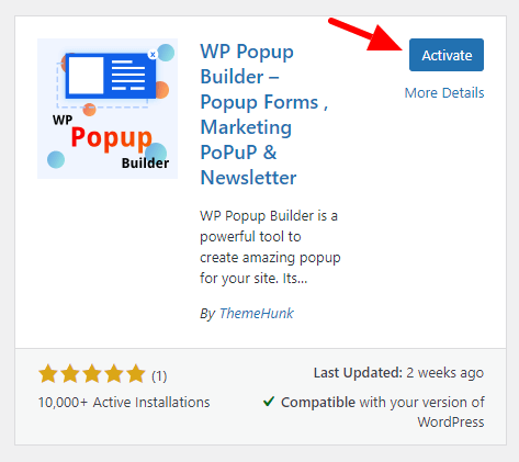 activate wp popup builder plugin