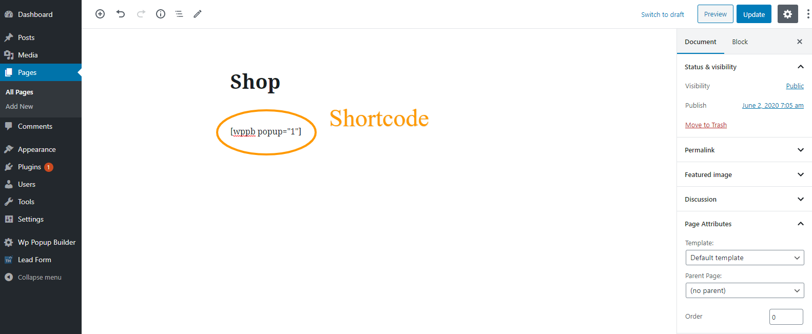 particular page shortcode