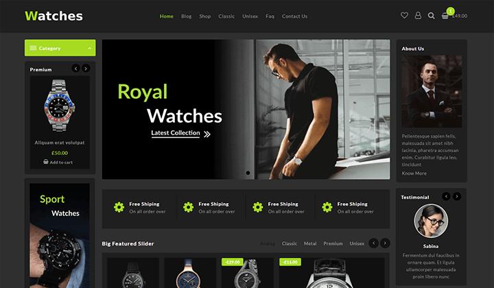 watch store woocommerce theme