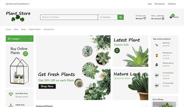 online plant store wordpress woocommerce store theme