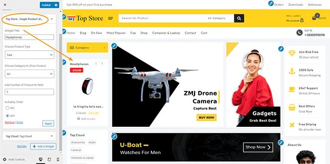 single-product-slider-widget-top-store-pro