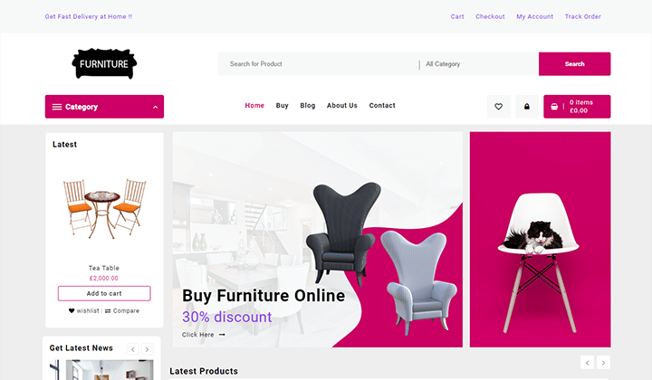 Open Shop Theme Templates furniture store