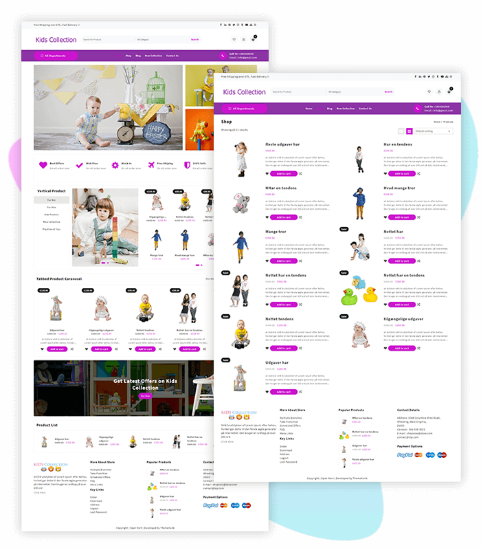 template-demo-page-one-click-kids-collection