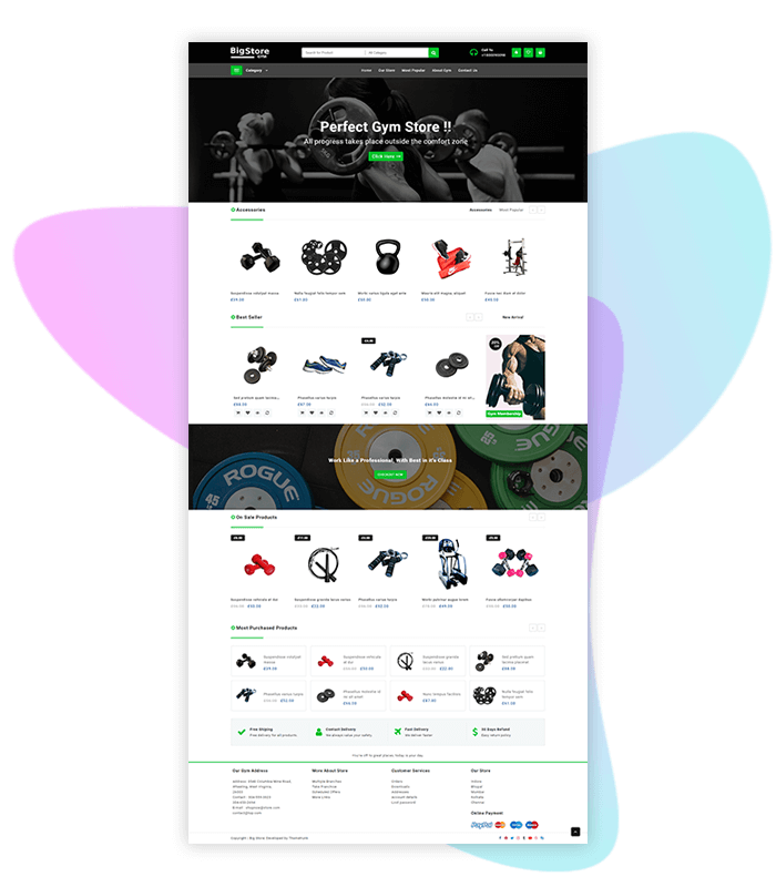 template-demo-page-one-click-gym-store