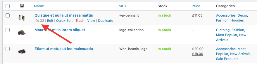 shortcode to display products on woocommerce with product ids