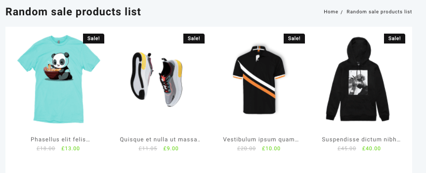 randon sale product shortcode