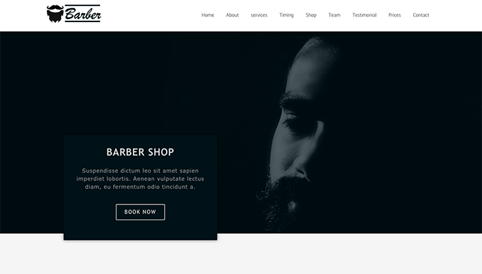 barber free elementor template download