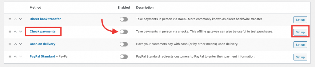 configure woocommerce check payments