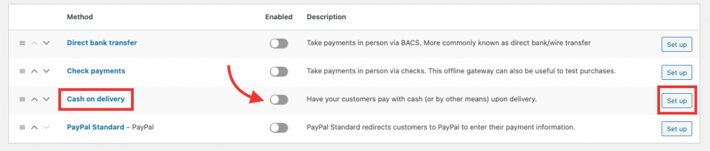 setup cash on delivery in woocommerce