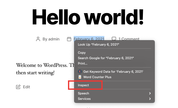 inspect element for removing date