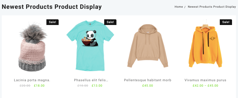 shortcode to display newest products in woocommerce website