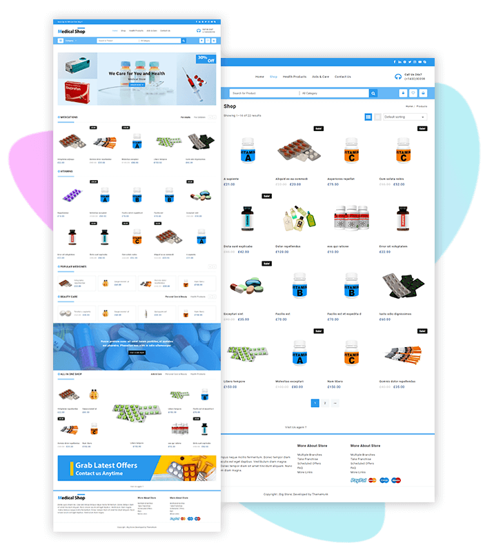 template-demo-page-one-clic-medical-shop