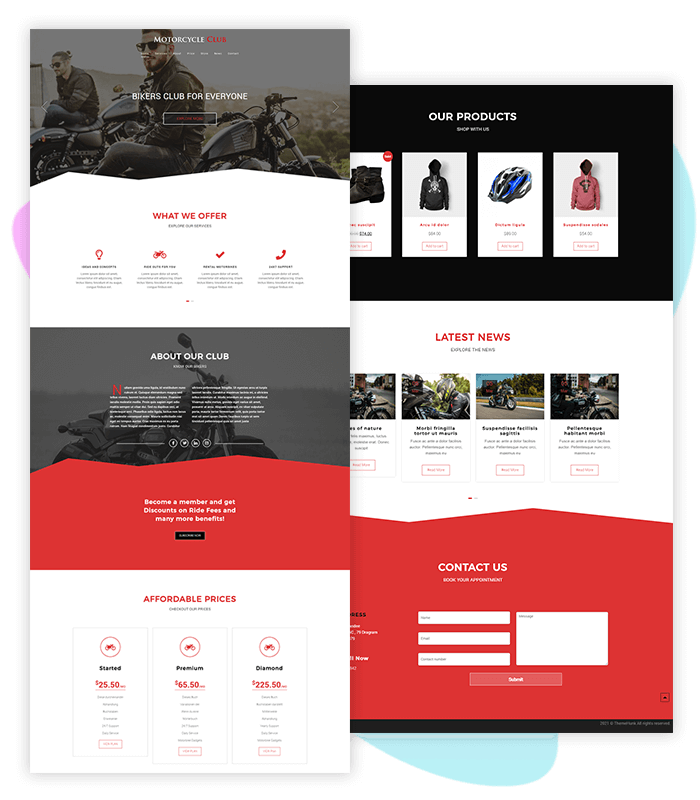 template-demo-page-one-click-motorcycle-bike