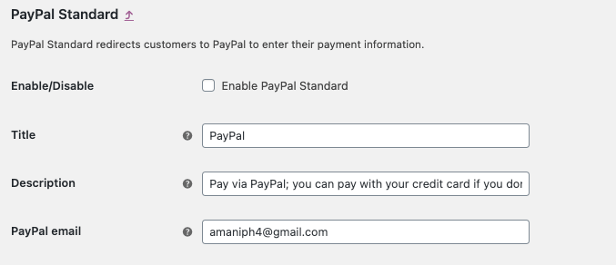 paypal standrad enable
