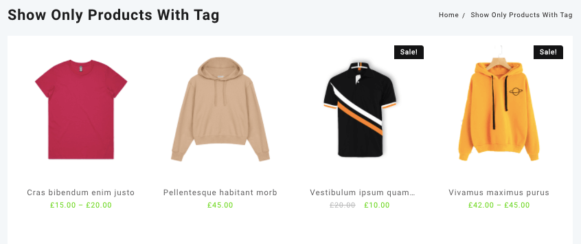 Only show product tag shortcode in woocommerce
