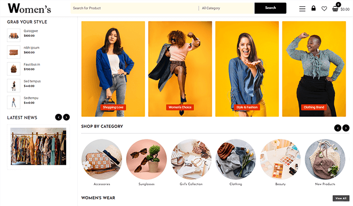 women fashion shop demo image