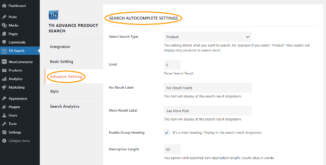 Search Autocomplete Setting