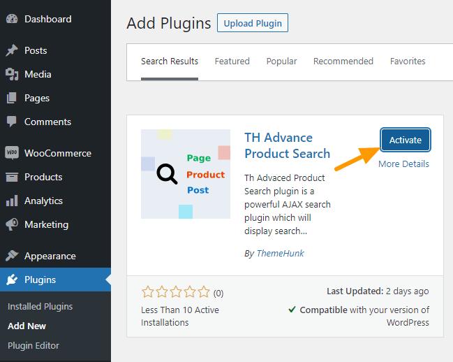 activate advance search plugin